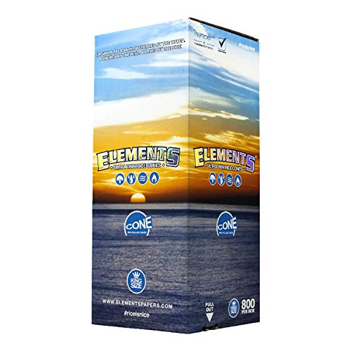 Elements 800 King Size Rice Cones - W Gallery Box - Ultra Thin 109mm Pre Rolled Cones, 26mm Filter Tips, Natural White Unbleached Unrefined Rolling Papers, Bulk Pack Bundle, Compare RAW 110mm KS