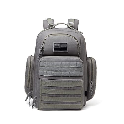 DBTAC Bolsa de pañales para papá con cambiador y bolsillos para toallitas, correas para cochecito, gris, L