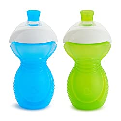 commercial Munchkin Click Lock Bite Proof Sippy Cup, Blue / Green, 9 oz, 2 Count milk sippy cup