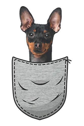 Zwergpinscher Miniature Pinscher Brust-Tasche Pocket Minpin: DIN A5 Liniert 120 Seiten / 60 Blätter Notizbuch Notizheft Notiz-BlockHunde die in der Brusttasche sitzen Hundeliebhaber