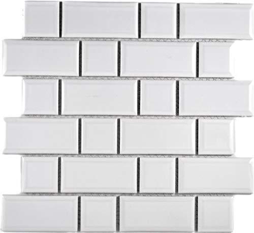 Metro Subway mozaïek tegel keramiek wit tegelspiegel keuken muur MOS26WM-0101_f | 10 mozaïekmatten