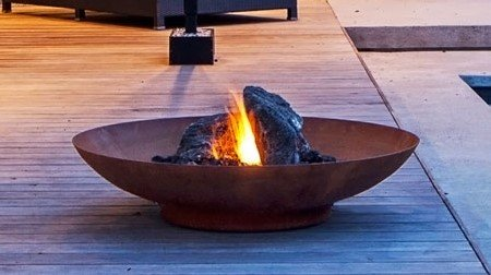 Primrose 80cm Corten Steel Fire Pit and Water Bowl