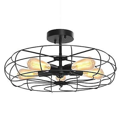 "Mount Ceiling Light, KingSo Industrial Pendant Lights 5-Light Fan Style Metal Cage Semi-Flush Mount Chandelier-18"" Vintage Farmhouse Light with UL Listed for Hallway, Restaurant, Barn, Living Room"