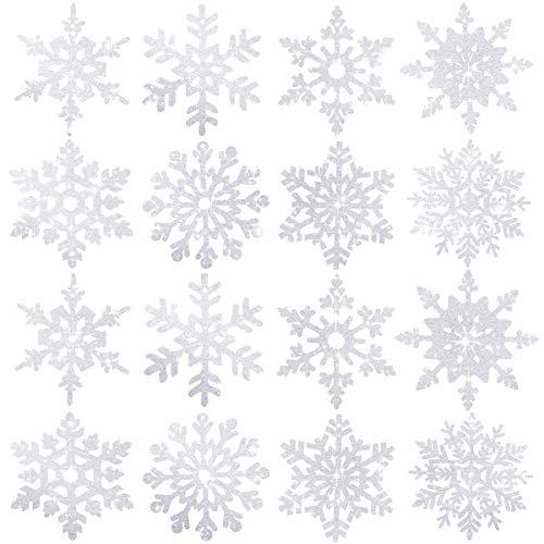 16 Piezas Copo de nieve de brillo blanco Adornos de copo de...