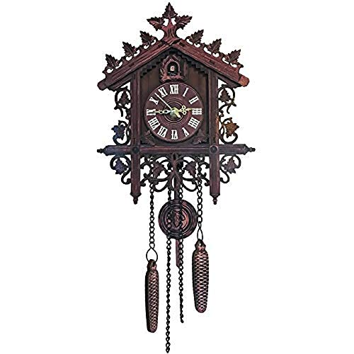 KUANDARMX Reloj De Pared De Madera Antiguo, Decoraciones Caseras Retro De Madera, Reloj De Pared De Cuco, Black