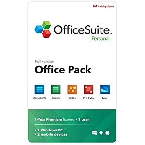 OfficeSuite Personal Compatible with Microsoft® Office Word® Excel® & PowerPoint® and Adobe® PDF for PC Windows 10, 8.1, 8, 7 – 1-year license, 1 user