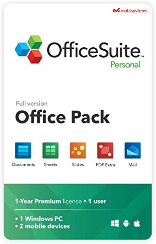 OfficeSuite Personal Compatible with Microsoft Office Word Excel & PowerPoint and Adobe PDF for PC Windows 10, 8.1, 8, 7 - 1-year license, 1 user