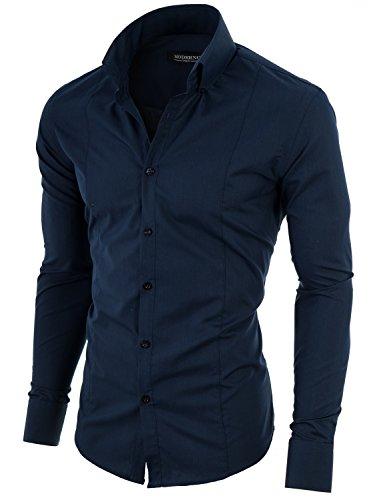 MODERNO Mens High Collar Dress Shirt – Slim Fit, Long Sleeve, Button Down (MSSF501) White US S