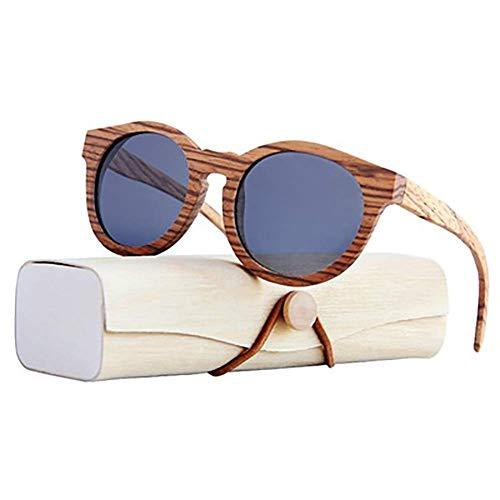 H-O Gafas de Sol de Madera/bambú Unisex, Gafas de Sol de Madera polarizadas exclusivas para Mujeres y Hombres con Mangos de Madera con Gafas de protección UV UV400