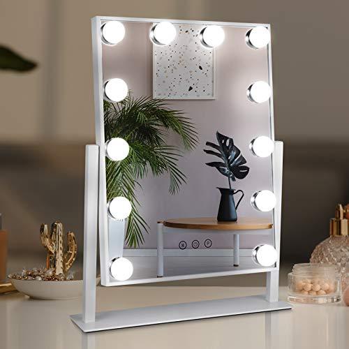 TOGETOP Espejo Maquillaje con Luz Hollywood Espejo Maquillaje LED 12 Luces 3 Modos de Color, Espejo Control Táctil, Brillo Ajustable 360 ° Giratorio,Regalo Navidad para Novia y Esposa