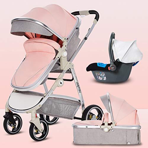 3 in 1 kinderwagen, Carriage kinderwagen Travel System- All Terrain Pushchair kinderwagen Compact Convertible kinderwagens voor pasgeboren jongen en meisje (kleur: Roze, Maat : A)