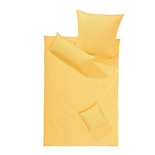 Lorena Batist Bettwäsche Basel Mini-Karo gelb 1 Bettbezug 200 x 200 cm + 2 Kissenbezüge 80 x 80 cm