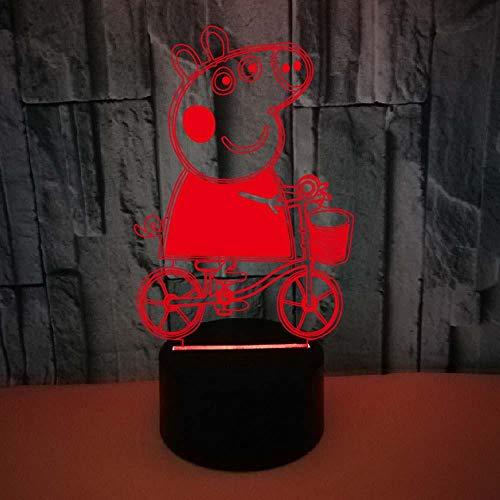 xczxc 3D LED Nachtlicht Peppa Pig 16 Farben Berührungssteuerung Zuhause Dekor Tischleuchte, Nachtlampe USB Tischlampe, für Kinder Geburtstag Geschenk Spielzeug