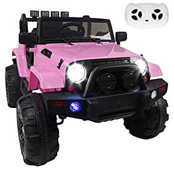 Simply-Me 12V Kids Electric Truck Ride On Car,3 Speeds SUV Power Car Wheels Remote Control Ride On Toys w/ MP3 Function,LED Headlights & Spring Suspension,Pink