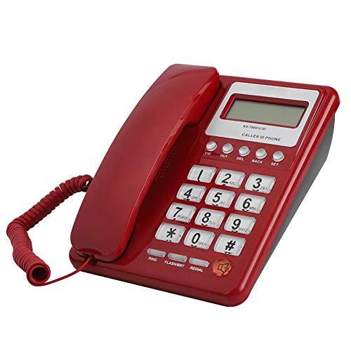 Kafuty Telefono Fisso, Telefono Corded con Display LCD & Tasti Grandi - ID chiamante/richiamare/ricomporre, Telefono DTMF/FSK per Casa Ufficio Hotel (Rosso)
