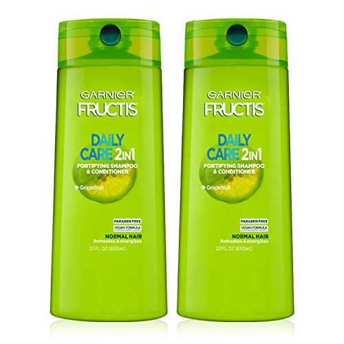 Garnier Hair Care Fructis Fortifying Paraben-Free 2-in-1 Shampoo and Conditioner for Stronger Looking Hair with Touchable Softness, 22 Fl Oz, 2 Count