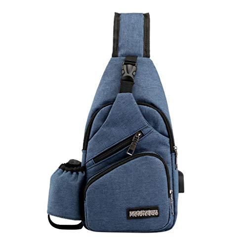 MRULIC Herren Brusttasche Reisetasche Mode Tasche Multifunktions Messenger Bag Einfach zu Installierende Brieftaschen und Handys(Blau,One Size)