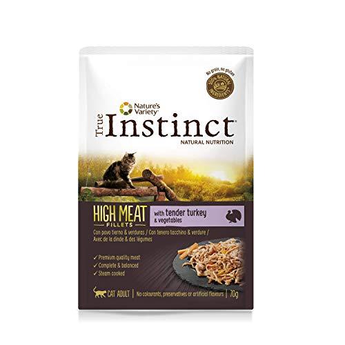 True Instinct High Meat Adult - Nature's Variety - Filetes con Pavo y Verduras para Gatos 70gr - Pack de 8 ⭐