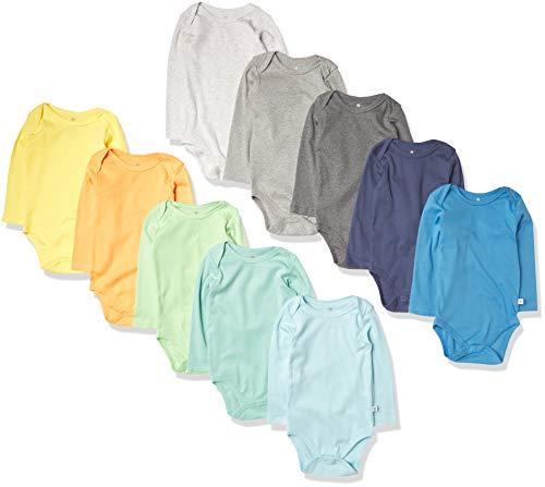 HonestBaby 10-Pack Organic Cotton Long Sleeve Bodysuits, Rainbow Boy, 3-6 Months