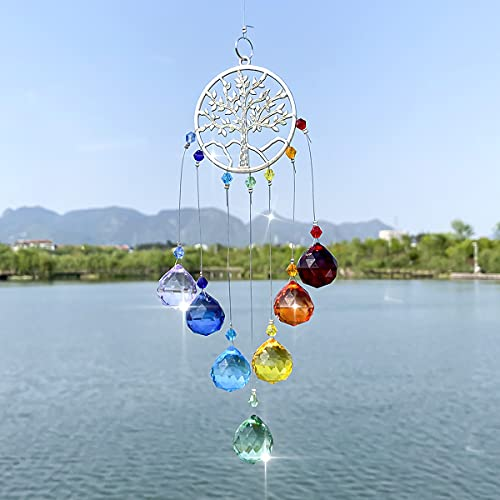 Crystal Rainbow Suncatcher, Rainbow Maker Hanging Pendant Colorful Round Shaped Tree of Life Hanging Ornament Glass Ball Prism for Garden Window Indoor Outdoor Decor