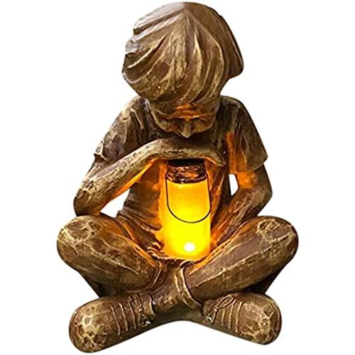 JLKDF Decoración de jardín, lámpara de Resina para Escultura de jardín, Escultura de niño caprichosa, con luz LED de energía Solar, para decoración de estatuilla de jardín al Aire Libre,