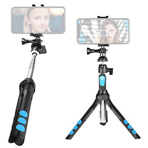 Neewer 3-in-1 Monopiede Treppiedi Bastoncino da Selfie Tascabile Estensibile con Supporto Clip Girevole a 360° per iPhone X/8/8 Plus/7/7 Plus, Samsung Galaxy S9/S9 Plus/Note 8/S8/S8 Plus ecc.