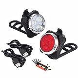 QAMR Juego de luces de bicicleta con kit de reparación de bicicleta, recargable por USB, luces de bicicleta súper brillantes, impermeables, luces de bicicleta de montaña recargables y luz trasera