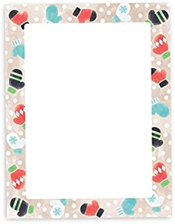 Winter Gloves Christmas Holiday Stationary - 40 Sheets Stationery Printer Paper