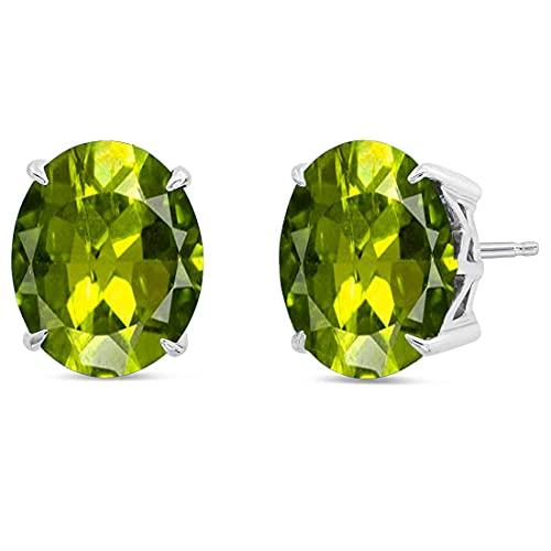CaratYogi plata de ley 925 plata de ley ovalada Green Peridoto natural