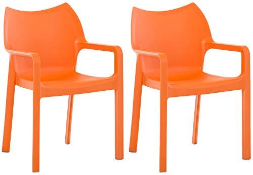 CLP 2er-Set Gartenstuhl Diva Mit Armlehnen   Pflegeleichter Kunststoffstuhl Mit 160 KG Belastbar, Farbe:orange