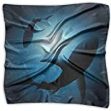 Mixed Designs Silk Square Scarves Bandana Scarf, Silhouette Of The Fishes Swimming At Twilight Night Moon Mystic Magical Sea Scenery,Womens Neck Head Set