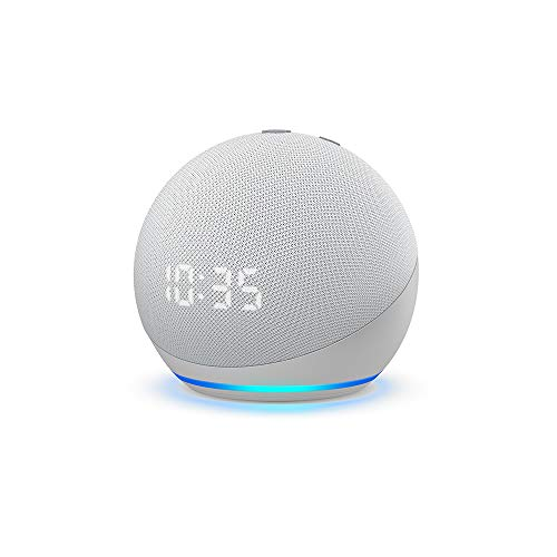 Echo Dot (4th Gen, 2020 release) with clock | Next generation smart speaker with powerful bass, LED display and Alexa (White)