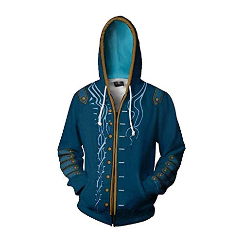 Zhangjianwangluokeji Dante Kostüm 3D Print Hoodies Zipper Jacket Adult Cosplay (Stil 2, L)