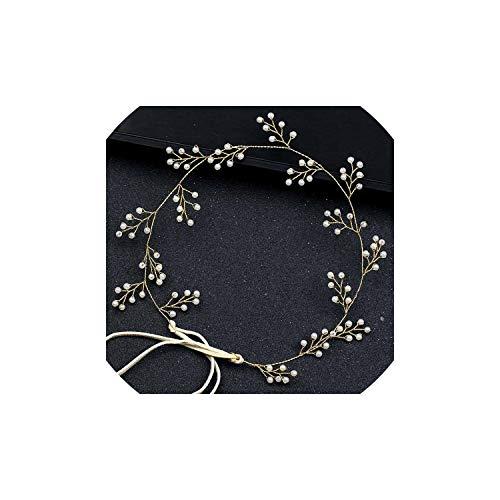 Flower Bride Hair Vine Pearl Wedding Combs Tiaras Headband Crystal Beads Bridal Headpiece For Women Jewelry,Hair Band