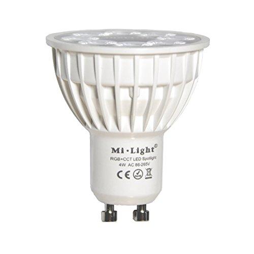 LIGHTEU®, 1x 4W GU10 RGB + CCT Spot LED à changement de couleur et CCT WW CW, température ajustable, contrôlé par MiLight WiFi ibox/Remote (non inclus), original Mi-light FUT103