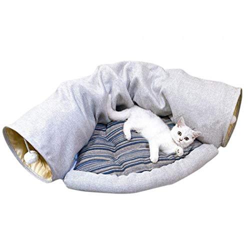 XUDREZ 猫 トンネル ペットハウス キャットトンネル ペット玩具 またたびトイ 半月型 猫の寝袋 2WAY ネコトンネル ピンク 折りたたみ 収納便利 (グレー)