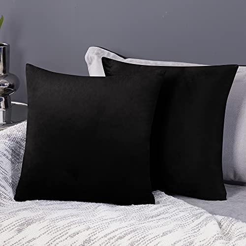 Deconovo Fundas para Cojines de Almohada del Sofá Cubierta Suave Decorativa Protector para Hogar 2 Piezas 65 x 65 cm Negro