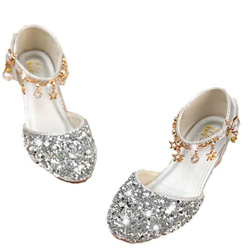 Zapatos de Vestir para niñas Transpirables Antideslizantes con Lentejuelas de Cuero Mary Jane Zapatos Planos para niños Fiesta de Boda Zapatos de Princesa de Suela Suave