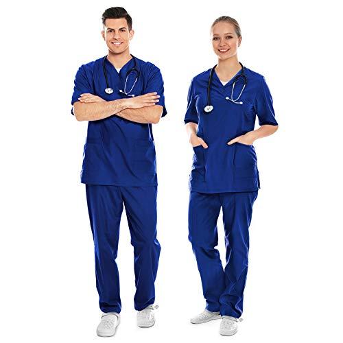 AIESI® Divisa Sanitaria uomo donna in cotone 100% sanforizzato pantaloni e casacca scollo a V # taglia XS BLU ROYAL