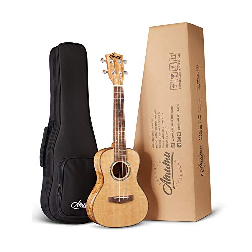 Amumu Concert Ukulele 23 Inch Solid Spruce Top Spalted Maple Gloss SPFM-C