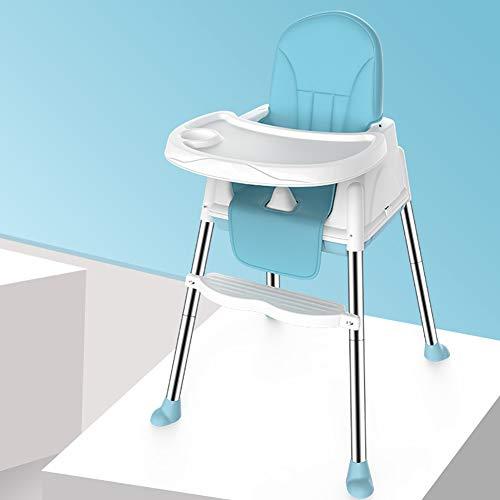 Tabouret Haut Pratique bébé PP sécurité Portable Chaise réglable Plateau siège Enfant Chaise de Salle à Manger Facile à Assembler-Blue