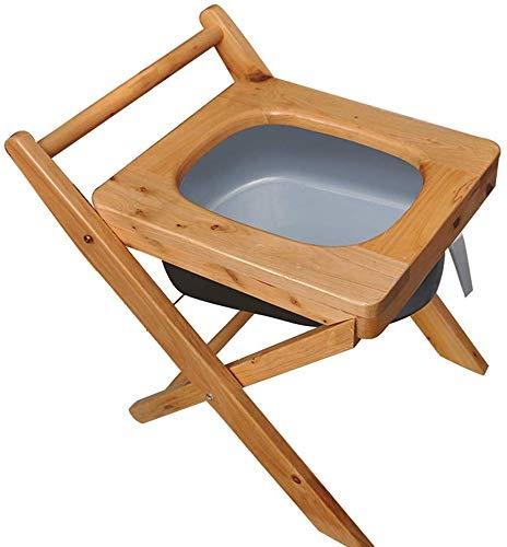 WYZXR Toilettenstuhl Klappbarer Nachttisch aus massivem Holz, Schwerer Rutschfester Duschhocker für das Bad, geeignet für behinderte, ältere und Schwangere Frauen