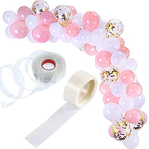 Tatuo Kit de Guirnalda de Globos de 112 Piezas Guirnalda de Arco de Globos para Decoración de Boda Cumpleaños Fiesta (Blanco Rosa)