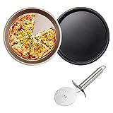 No-Branded EACHPT 2pcs Rotonde Teglie per Pizza Piatto Pizza Forno con tagliapizza Antiaderente Piatti per Pizza Carbonio Piastra per Pizza per Forno Cucina Domestica Cottura Pizza