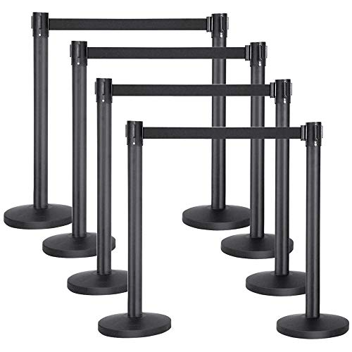 Yaheetech Stanchion Post/Rope/Sign/Set with 6.5 Foot Retractable Belt – Easy Connect Assembly (8-Pack)