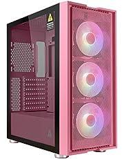 GOLDEN FIELD - Magician Mid Tower ATX/MATX, przedni panel z siatki o wysokim przepływie powietrza, 3 * 120 mm wentylatory wstępnie zainstalowane, hartowane szkło panel boczny do gier obudowa PC - różowa