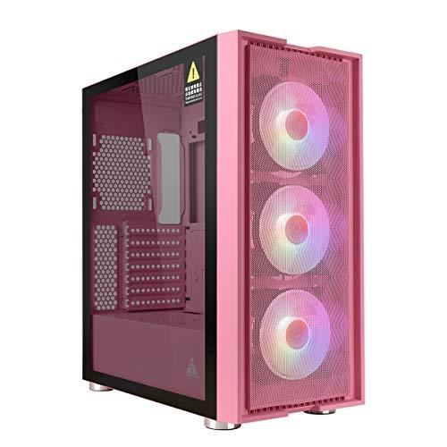 GOLDEN FIELD- Magician Mid Tower Case Gaming, Case PC ATX/Micro-ATX, 3 * 120mm Ventole Preinstallate, Vetro Temperato, Pannello Frontale a Rete ad Alto Flusso d'Aria - Rosa