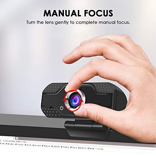 HBHS Webcam, Suddefr Web Kamera, mit Mikrofon, USB 2.0-Anschluss, HD 1080P, Belichtungskorrektur, Kompatibel mit Windows Mac OSX Linux für Videochat, Aufzeichnen, Konferenzen, Studieren.