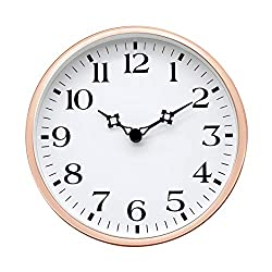 COMODO CASA Wall & Desk Clock- Metal Rose Gold Frame-Glass Cover-Non Ticking-Quartz Sweep-Silent 6 inch Retro Clock,White Type A