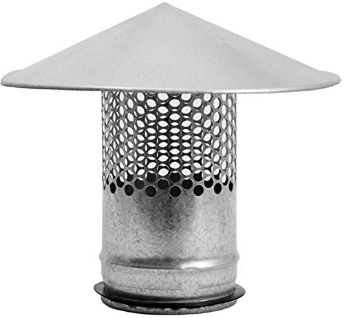 Round Roof Rain Cap HVAC Vent Galvanized Steel All Weather Rain Cap Roof Top Round Roof Vent with Rubber Gasket for Perfect Insulation Vent Cover (4'' Inch)